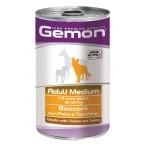 Gemon. Dog Medium. Консервы для собак средних пород, кусочки курицы с индейкой. 1,25 кг