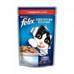 Felix. Паучи. Для кошек. Говядина. Кусочки в желе. 0,085 кг