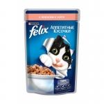 Felix. Паучи. Для кошек. Лосось. Кусочки в желе. 0,085 кг