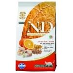 FARMINA. N&D низкозерновой. Спельта, овес, треска, апельсин. Полнорационный корм для взрослых кошек. 5кг