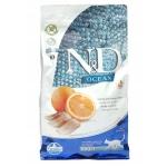 FARMINA. N&D Ocean беззерновой. Рыба, апельсин. Полнорационное питание для взрослых кошек.1,5 кг