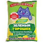 Earth Pet. Наполнитель растительный . Зеленый горошек, экстракт бамбука и зеленого чая. 6л.
