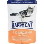 Happy Cat. Паучи для взрослых кошек. Говядина и птица в соусе. 0,085кг.