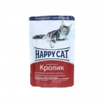 Happy Cat. Паучи для взрослых кошек. Кролик в соусе. 0,085кг.