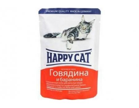 Happy Cat. Паучи для взрослых кошек. Говядина и баранина в соусе. 0,085кг.