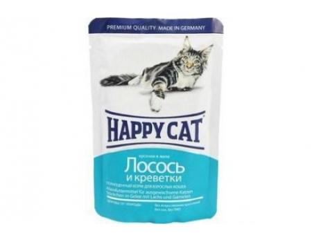 Happy Cat. Паучи для взрослых кошек. Лосось и креветки в желе. 0,085кг