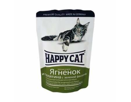 Happy Cat. Паучи для взрослых кошек. Ягненок и телятина с зеленой фасолью в желе. 0,085кг.