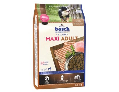 Bosch. MAXI ADULT. Полнорационный корм для взрослых собак крупных пород (весом свыше 25 кг) со средним уровнем активности. 3 кг